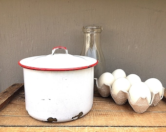 ENAMEL CANISTER   Vintage c.1930's White and Red Enamelware Round Storage Container   Cooking Pot   Retro Kitchen Storage and Organization
