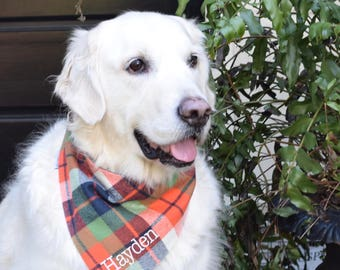 Flannel Orange Navy and Green Plaid Dog Bandana    Personalized Pet Scarf    Pet Gift by Three Spoiled Dogs