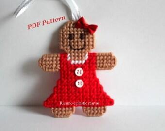 Plastic Canvas Christmas Pattern: Gingerbread Girl, Christmas Ornaments, Christmas Tree Decoration, Plastic Canvas Ornaments, PDF Format