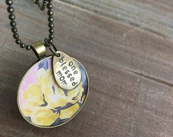 Blessed Mom Necklace-Mother's Day Gift-Stamped Jewelry-Resin Bezel