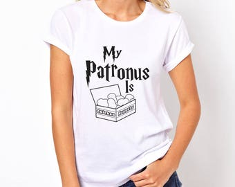 My Patronus Is Chicken Nuggets Womens T-shirt/ Harry Potter T-shirt, Harry Potter Funny T-shirt/ Harry Potter Patronus/ Harry Potter Quote