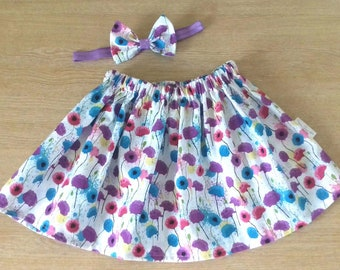 Girls skirt, Toddler Skirt, Baby Skirt, Twirl Skirt, Children's Skirt, Skirt and Bow Set