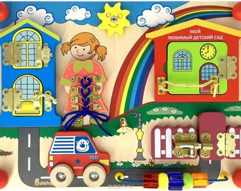 Busy board Sunny Day -  Sensory board Activity board Toddler toys