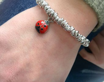 Bracelet in aluminum with lady bug