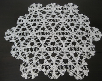 1920s Large Hand Crochet Six Sided Doily - 24 x 21