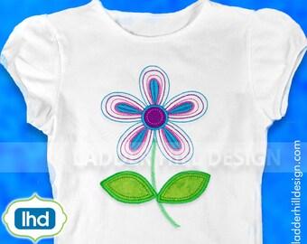 Flower Applique - Bean Stitch Daisy Stem Flower Applique Machine Embroidery Design No.  FL002