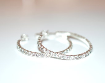 Sterling Silver Crystal Glass Hoop Earrings - 1.5 inch Sparkling Hoop Earrings with Crystal Glass
