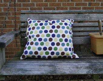 Reversible Half Polka Dot Half Burlap Pillow