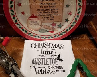 Christmas Time Mistletoe & Sharing Wine Flour Sack Towel