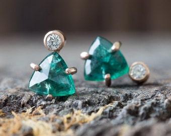 Limited Edition Natural Emerald + Diamond Stud Earrings