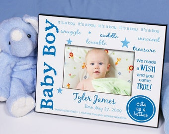 We Made A Wish - New Baby Personalized Printed Frame [baby frame, personalized, baby frame, newborn, baby announcement, shower] -gfy418310