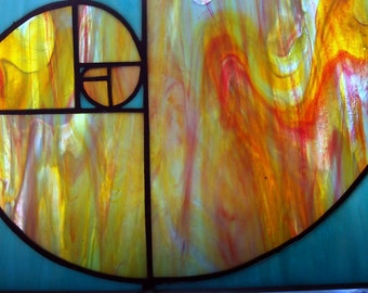 Stained Glass Fibonacci Spiral, Golden Ratio, Nature's Numbering System, Fibonacci Sequence 0, 1, 1, 2, 3,  Mathematics / Science, Abstract
