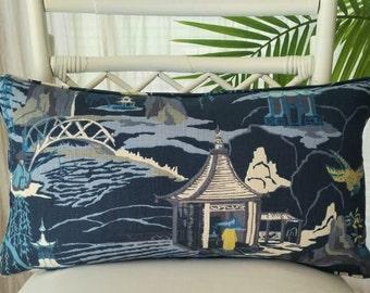 Robert Allen Neo Toile Chinoiserie Oriental Asian Pagoda Temple Blue Indigo Pillow Cover