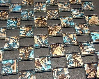 CHAMPAGNE & BLUEGREEN - Van Gogh Stained Glass Mosaic Tile B23