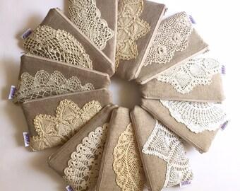 Set of Linen Burlap Clutch Vintage Doily Bridesmaid Gift