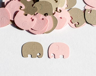 Pink and Gold Baby Shower Confetti - Elephant Baby Shower Decoration -  Elephant Confetti