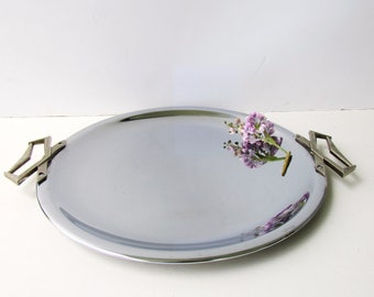 Mid Century Barware - Vintage Art Deco Style Chrome and Silver Metal Round Tray  - Art Deco Handles - Streamlined Design - Kromex USA