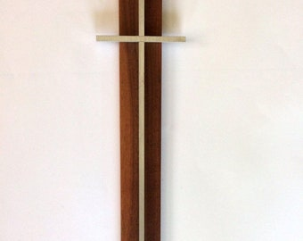 "13.5"" MCM Wooden CROSS Crucifix Aluminum Metal Religious Catholic Vintage"