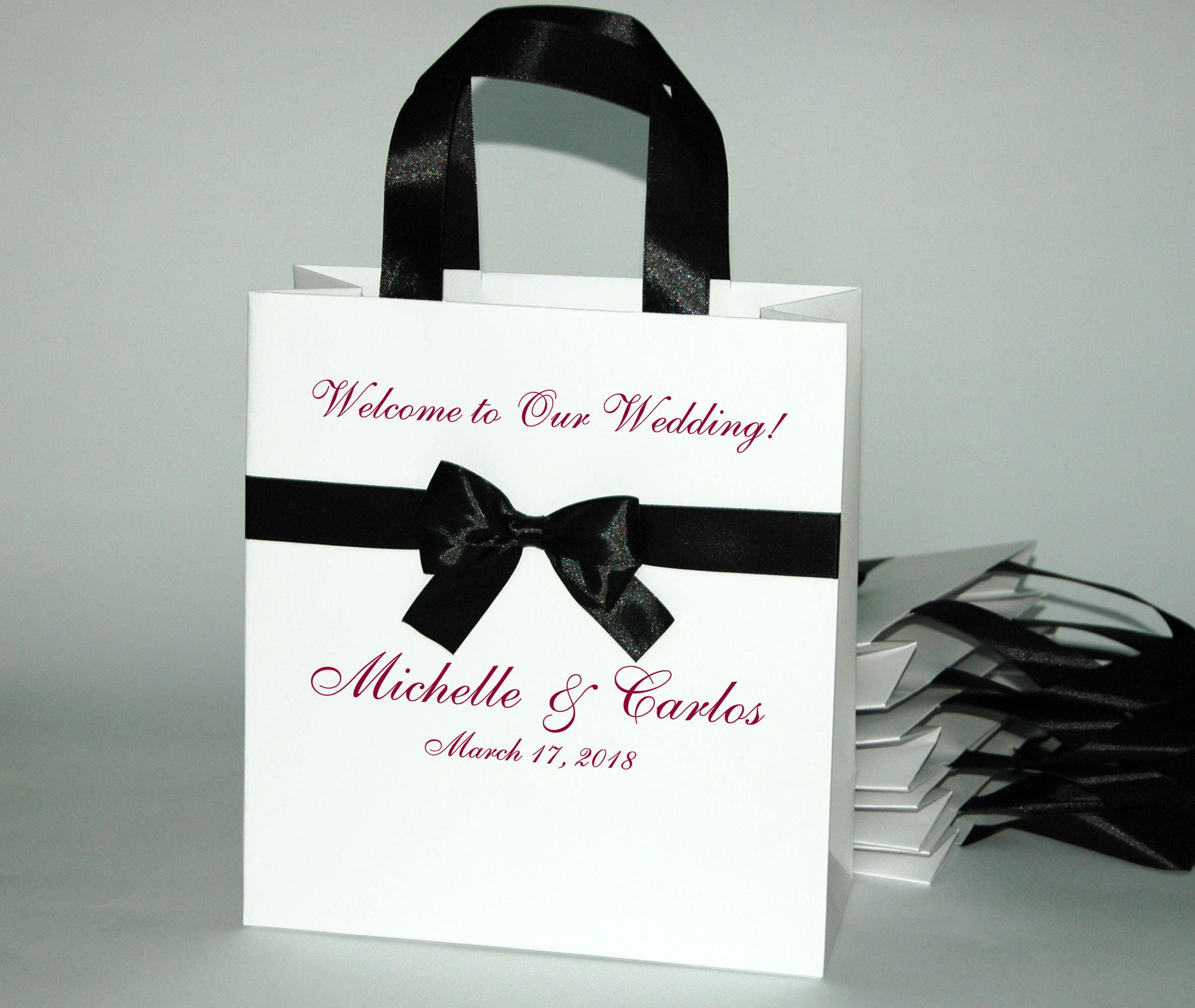 20 Wedding Welcome Bags with Black satin ribbon handles bow