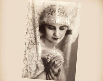 Art Deco Lady Bride New 4x6 Vintage Postcard Image Photo Print LD48