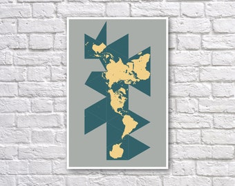 Buckminster Fuller Dymaxion Map Poster - Dymaxion Map Projection - World Map Wall Art - Land over Projection Facets