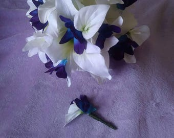 Cala lily and galaxy orchid with matching boutineer