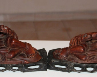 Very Beautiful Pair of Chinese Hand Carved Wood Statues.