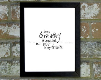 """Digital Download Typographic Print Wall Art """"Love Story"""" Instant Download Printable Art Printable Word Art Black and White Home Decor"""