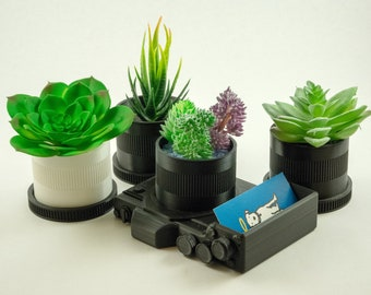 Camera Desk Planter - 3d-printed gift for photographer |  succulent planter | Father's Day gift | photography lover | business card holder