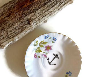 Anchor/Floral Wall Art - Vintage Richmond Saucer Plate - Rare Quirky Kitsch Upcycled Goth China Porcelain Jewellery Ornament Gift