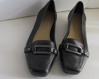 Classic and Comfy Loafer Shoes 80s Black Leather Loafers Woman sz 6.5 Big Buckle Shoe Classic and Comfy Shoes Black Flat Shoes sz 6 5