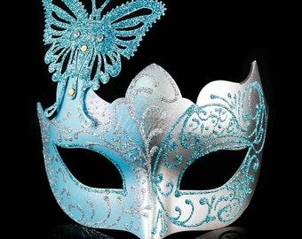 Masquerade Mask, Masquerade Mask, Butterfly Mask, Baby Blue/Silver Mask, Wedding Masquerade Mask, Mardi Gras Masquerade Mask