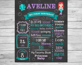 First Birthday Chalkboard of Favorite Things Poster Printable,  Mermaid Birthday Chalkboard Sign, Mermaid Birthday