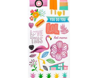 American Craft Amy Tangerine Clear Stickers - On A Whim
