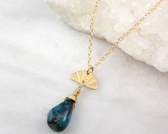 Stamped Gold Fan and Turquoise Necklace