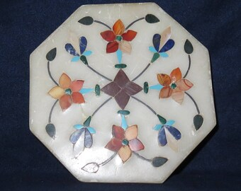 """ALABASTER Box Octagonal INLAID Top and Sides With Mother of Pearl, 4"""" x 1"""" (#579)"""