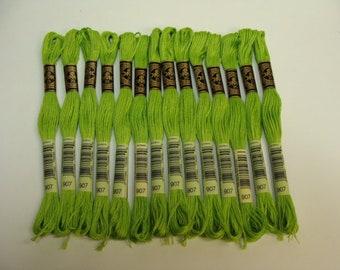 DMC Embroidery Floss Cotton 6 Strand, Matches Chartreuse Wool Blend Felt