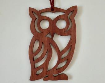 Christmas ornament, Unique tree ornament, Owl tree ornament, wooden tree ornament,  reclaimed scroll saw Eucalyptus ornament