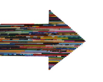 ARROW - bright colored wall art - made from recycled magazines, colorful, unique, trendy home decor, interior design, unique,handmade