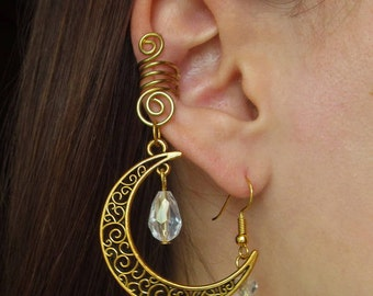 Gold Ear Cuff with moon White Ear Cuff Blue Ear Cuff Black Ear Cuff Wire Jewelry Wire wrapped ear cuffs Moon