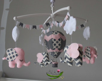 Pale pink, grey and white chevron & polka dot elephants. Baby girls mobile. Made to order