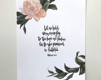 Hebrews 10:23 Hand Lettered Art Print