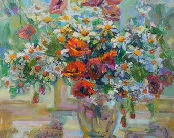 "IMPRESSIONIST STILL LIFE Original Oil Painting by Chebotaru Tamara Signed Ukrainian Original fine art Flowers painting""Good mood"""