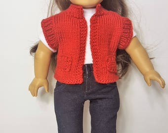 """Red Knit Doll Vest - Hand-made to fit like American Girl Doll Clothes - 18"""" Doll Clothes - Knit Doll Clothes"""