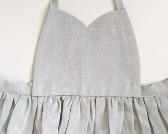 LINEN PINAFORE || girls, pale mint green 3-4t