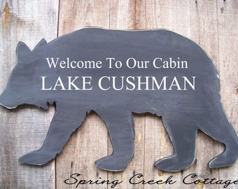 Personalized, Bear Signs, Bear Silhouette, Handpainted, Lakehouse Decor, Bear, Rustic, Signs, Home Decor, Custom Signs, Family Name Signs