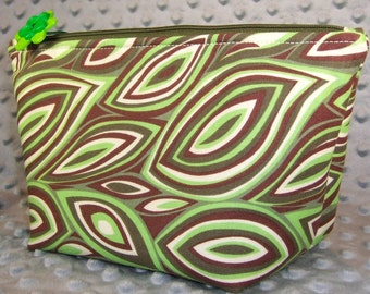 Wedge Bag on Sale: retro flames fabric zippered makeup bag, accessories pouch, cosmetic bag, green and brown hippie bag