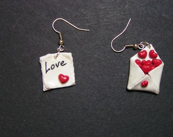 Earrings Valentine gift wrap heart polymer clay
