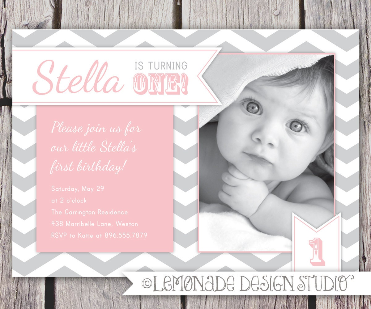 First birthday invitation chevrons chevron photo printable zoom stopboris