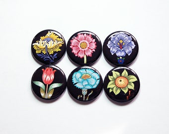 Flower magnets, Floral magnets, stocking stuffer, Fridge magnets, Locker Magnets, Floral Design, Gifts under 10, Magnet set (8389)